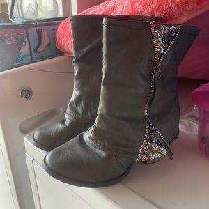 Grey Sparkle Heel boots